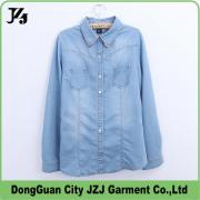 J0026 JZJ OEM CUSTOM FACTORY DENIM WOMEN WASH FASHION LONG SLEEVE TOPS