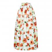 910 Orange Flower African Print Maxi Skirt of Women Long Style
