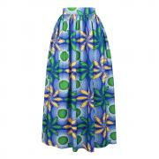 910 African Floral Maxi Dress High Waist A Line Long Skirts with Pockets