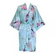 838 Women Peacock Kimono Short Sleeve Silk Bridal Robe